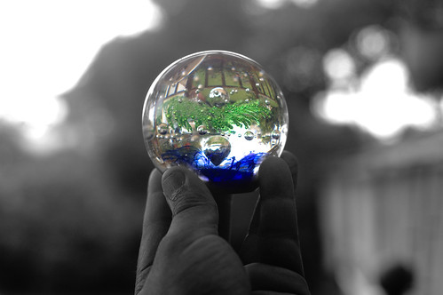 a coloured glass ball