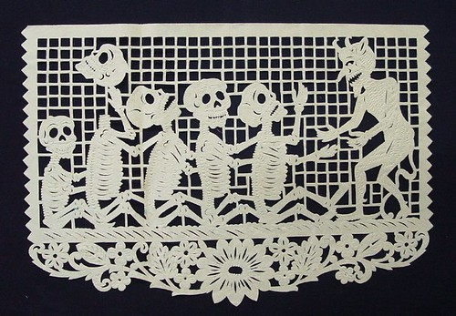Day of the Dead papercut  made in San Salvador Huixcolotla, Mexico (1980s)