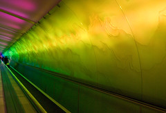 Airport Tunnel 6 (Tiz_herself) Tags: green rose yellow lights nikon michigan detroit tunnel explore dtw detroitmichigan detroitmetropolitanairport d40x
