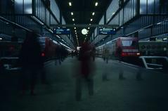 geister. ghosts. (pepperminded) Tags: film station analog train germany geotagged deutschland nightshot stuttgart travellers eisenbahn railway zug bahnhof rangefinder olympus db slidefilm ghosts xa karlsruhe stazione e6 reisende geister geo:lat=48783717 geo:lon=918162