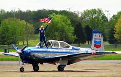 Julie Clark with flag back on land