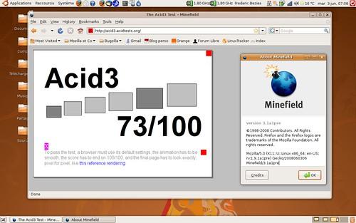 73 / 100 au test acid3 avec Firefox 3.1 pré-alpha1.