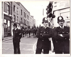 Police - 1978 (AndyWilson) Tags: bw film 35mm demo march police 1978 zenit rockagainstracism