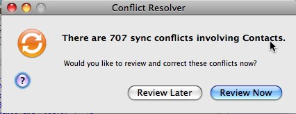 Conflict Resolver: Mac OS 10.5.3 Address Book and .Mac Sync
