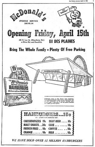 April 14th 1955 Ad For Ray Kroc's First McDonalds Restauant in Des Plaines, IL