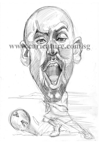 Caricature of Nicolas Anelka pencil sketch watermark