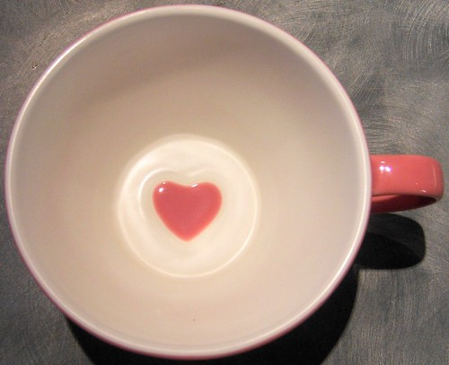 pink heart cup