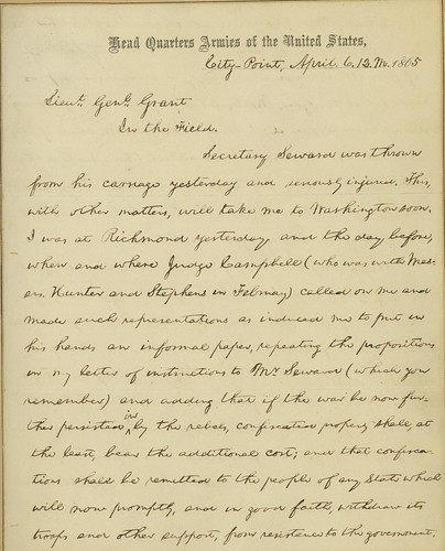 Lincoln writes to Grant in the final days of the war:  April 6, 1865 (p1)