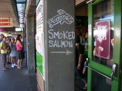 Smoked salmon in chalk (kevincrumbs) Tags: seattle chalk pikeplacemarket smokedsalmon downtownseattle