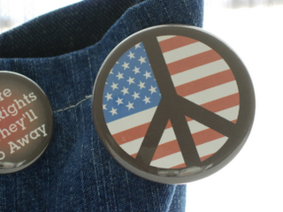 Political Buttons: American Flag Peace Symbol