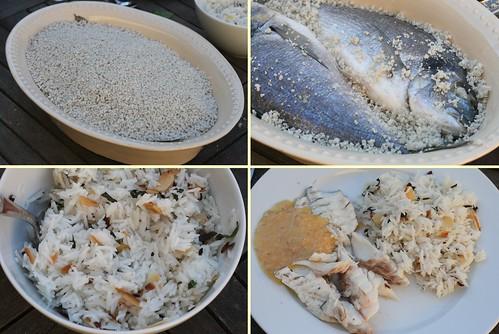 Dorade & riz à la menthe & aux amandes