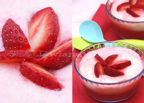 red white strawberry pudding
