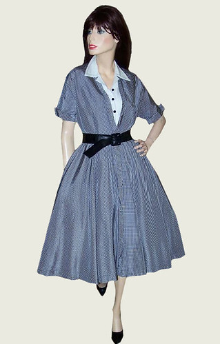 Sexy Secretary Full Circle Skirt Vintage Dress