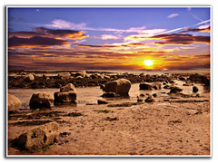 Good Morning Sunday (DDA / Deljen Digital Art) Tags: morning sea summer sky cloud beach photoshop sunrise sand rocks warm tide manipulation colourful adaptation blending