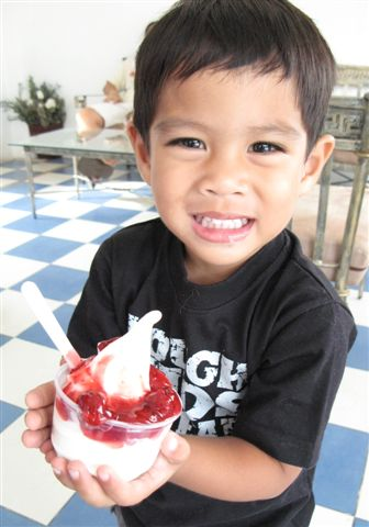 Lucas with frozen yogurt