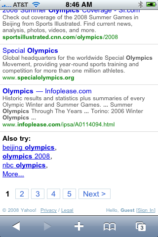 Yahoo Search on iPhone