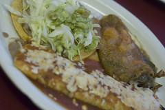 Tostada, Potato Burrito, Chile Relleno