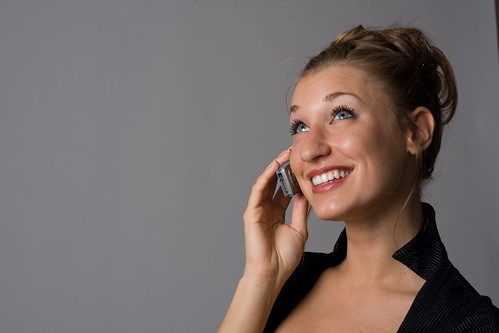 A business woman talking on a cellphone