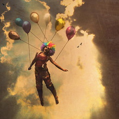 The Great Escape (rosiehardy) Tags: sky cloud color bird fly heaven escape clown baloon away rise float alarecherchedutempsperdu vision1000 visiongroup vision100