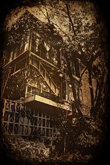 """The Haunted House"" (Vic de Vera) Tags: old trees house black texture beauty sepia photography weird photo scary gate ghost philippines property scene spot structure haunted creepy manila textured masterpiece haunt hauntedhouse pasigcity vicdevera"
