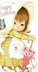 happy birthday bonnet (lorryx3) Tags: yellow umbrella butterfly bigeyes apron card happybirthday bonnet bluebutterfly pinkumbrella