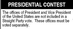 Straight party warning from the NC ballot