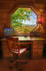 Desk with a View (AdamBaronPhoto) Tags: autumn fall window leaves desk northcarolina hdr octagon photomatix