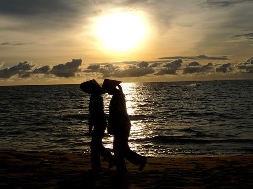 Sunset, Girls in Cone Hats on Phu Quoc
