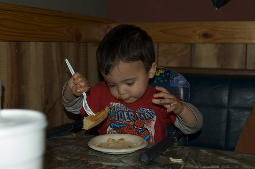 Benji eating pie