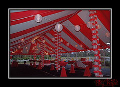 Carnival Party, red and white tent with paper lanterns (Party Perfect Orlando) Tags: carnival balloons tent redandwhite bigtop paperlanterns carnivalparty carnivaltent