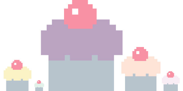 New York Times cupcake pixel illustration