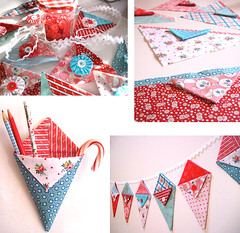 Pennie Pockets - Little pennant pockets of happiness (Happy Zombie) Tags: red cute aqua pattern craft fabric cotton craftproject pennant sewingproject pennants freepattern redandaqua
