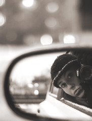 It's like driving a car at night. You never see further than your headlights, but you can make the whole trip that way~ (Tja'Sha) Tags: bw selfportrait me bokeh moi drivinghome foolingaround 50mm18 goofyme bokehlicious nikond40 bokehwhores fiddywhores tjaa hbweve tjasha onasnowyevening