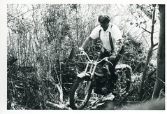 Bob Miller riding at Cal Poly observed trials - San Luis Obispo, 1975 (bcgreeneiv) Tags: california blackandwhite bw vintage motorbike 1975 motorcycle trials sanluisobispo calpoly bultaco observedtrials sherpat billgreene williamgreene
