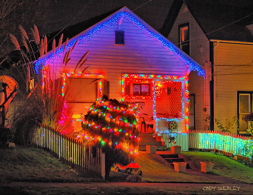 blue red and green christmas lights