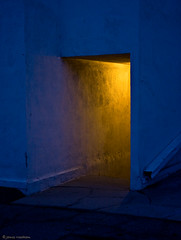 outdoors night hall (MyArtistSoul) Tags: blue light yellow night lowlight walk doorway valley handheld 1755mmf28is