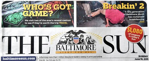 Baltimore Sun Front page - Breaking photo