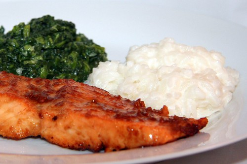 miso-glazed salmon, sauteed spinach, coconut rice