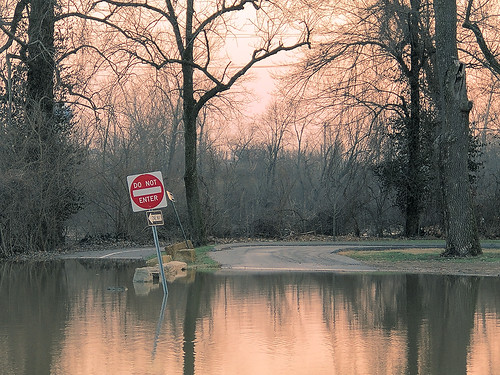 Flooded park, in Valley Park, Missouri, USA
