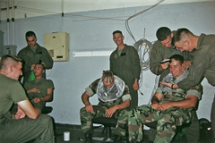 Pre-Deployment Fun (forstonsr) Tags: print 1999 scan marines goofingaround crazycuts nuggetsgettheirheadsshaved