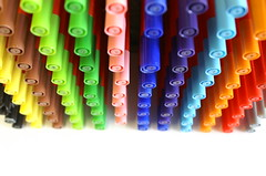 Pen Party! (Bubble of Interest) Tags: school white colour field rainbow colours dof bright multicoloured felt equipment tips colourful pens depth stationary berol