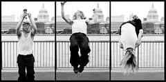 Southbank triptych (philcozz) Tags: street uk england bw london nikon triptych 14 sigma sigma30mmf14dc southbank performer d300 cs3 30mm captureone