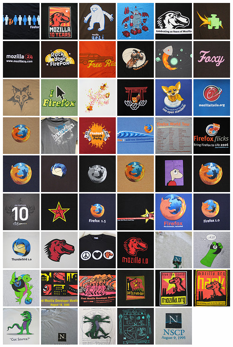 A T-Shirt History of Mozilla (6.4.08 version)