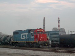 A former Grand Trunk Western Railroad EMD roadswitcher working the CN Crawford Yard. Chicago Illinois. Early November 2007.