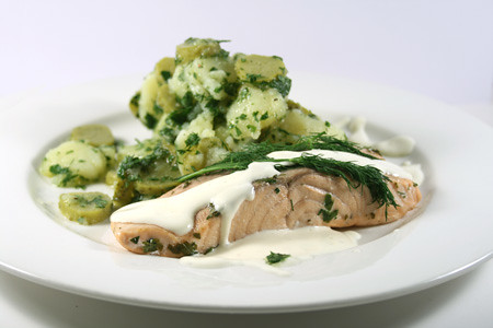 Poached freshwater salmon with dilled potato salad (Swedish) | Gustoso