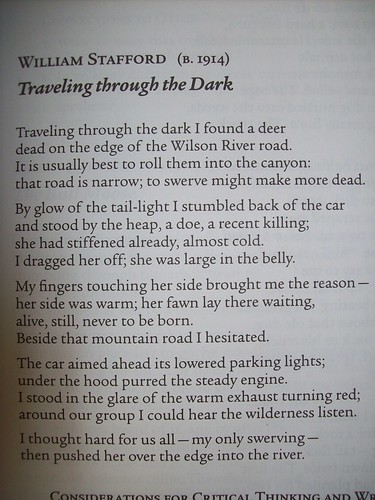 on the poem traveling through the dark essay Ebscohost serves thousands of libraries with premium essays, articles and other william stafford's traveling through the dark is a short poem of.