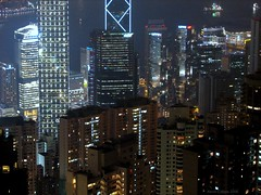 Hong Kong skyscrapers at night (Surrealplaces) Tags: china urban building tower sign skyline night skyscraper hongkong office downtown neon cityscape torre tour edificio scene hong kong highrise kowloon turm victoriapeak wolkenkratzer rascacielo gratteciel