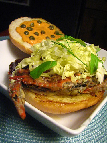 Soft-Shell Crab Sandwich with Red Pepper Aioli and Capers
