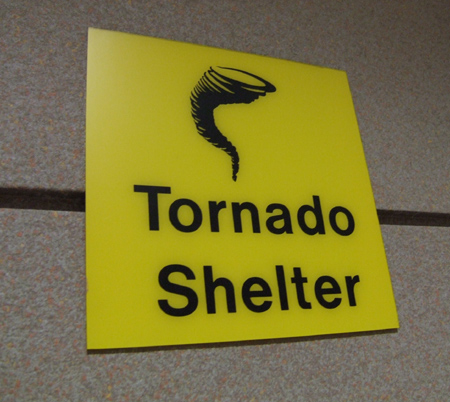 Tornado shelter signs at Denver International Airport