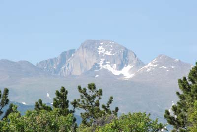 view of longs peak, rmnp from tent